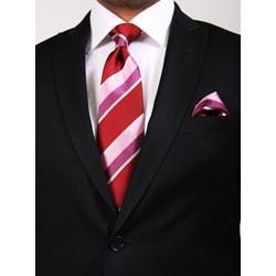Ferrecci Men's Two-button Black Peak Lapel Suit - Thumbnail 1