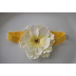 White and Yellow Designer Flower Headband