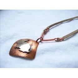 My Three Metals Copper and Suede Bunny Necklace