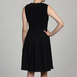 Jessica Howard Petite Ruffled Neck Godet Skirt Belted Dress FINAL SALE