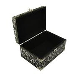 Faux Leather Jewelry & Keepsake Box in Black & White (Set of 2) - Thumbnail 1