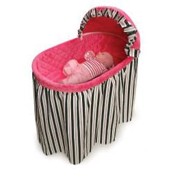 Embrace Bassinet with Black and Pink Bedding
