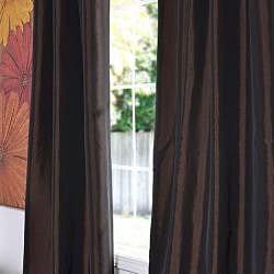 Exclusive Fabrics Java Faux Silk Taffeta 96-inch Curtain Panel - Thumbnail 1