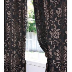 Exclusive Fabrics Black/ Bronze Patterned Faux Silk Jacquard 120-inch Curtain Panel