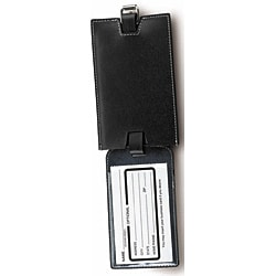 Lewis N. Clark Black Slim Leather Luggage Tags (Set of 2)