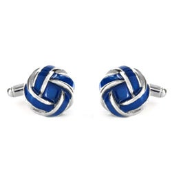 West Coast Jewelry Stainless Steel Blue and White Knot Style Cuff Links - Thumbnail 1