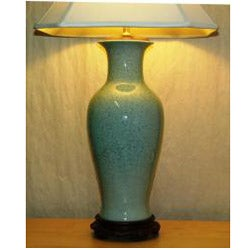 Light Blue Porcelain Crackle Table Lamp - Thumbnail 1