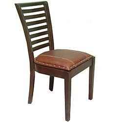 Aledo High-back Mahogany Leather Chairs (Set of 2) - Thumbnail 1