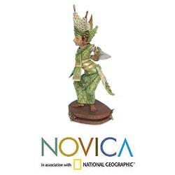 Handcrafted Crocodile Wood 'Legong Kraton Dance' Sculpture (Indonesia) - Thumbnail 1