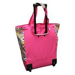 Olympia 20-inch Pink Tulip Rolling Polyester Top-loading Shopper Tote - Thumbnail 1