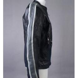 Leather Men's Grey Arm Stripes Motorcycle Jacket - Thumbnail 1