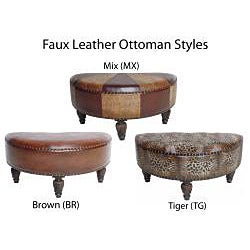 Faux Leather Half Moon Ottoman Free Shipping Today