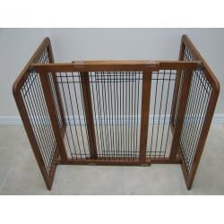 Crown Pet Chestnut Brown Wood and Wire Pet Gate (27 to 48.75) - Thumbnail 1