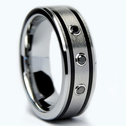 Men's Tungsten Carbide Black Diamond and Resin Band (7 mm) - Thumbnail 1
