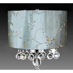 Bistro Oval Shade Crystal Ball 3-light Table Lamp