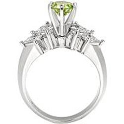 14k White Gold 1 5/8 ct TDW Green and White Diamond Ring (SI2, VS2) - Thumbnail 1