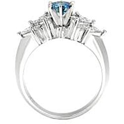 14k White Gold 1 1/4ct TDW Blue and White Diamond Ring (SI2) - Thumbnail 1