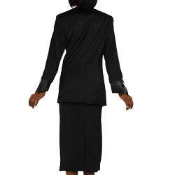 Divine Apparel Women's Missy Satin Trimmed Asymmetrical Collar Skirt Suit - Thumbnail 1