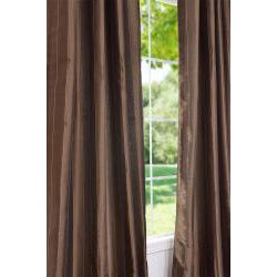 Exclusive Fabrics Striped Sable Brown Faux Silk 95-inch Curtain Panel - Thumbnail 1