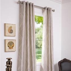 Exclusive Fabrics Grommet Sand Dune Faux Silk 106-inch Curtain Panel - Thumbnail 1