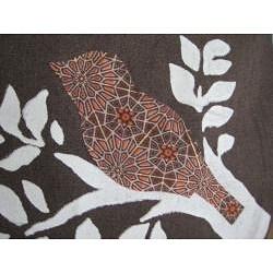 Handmade Heather Brown Canvas 'Bird On A Branch' Messenger Bag - Thumbnail 1