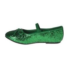 Pleaser Girl's Green Glitter Bow-tie Ballet Flats - Thumbnail 1