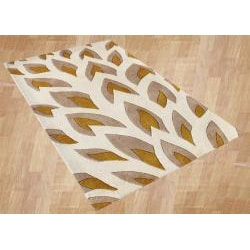 Hand-tufted Flame Inspiration Beige Wool Rug (5' x 8') - Thumbnail 1