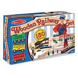 Melissa & Doug Wooden Railway Play Set - Thumbnail 1