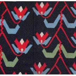 Thumbnail 2, Indo Hand-Woven Kilim Black and Green Wool Rug (7'2 x 10'10). Changes active main hero.