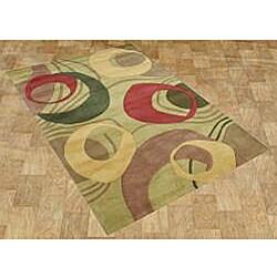 Alliyah Handmade Amber Green New Zealand Blend Wool Rug 5x8