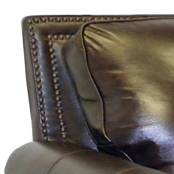 Salem Rustic Brown Italian Leather Sofa and Loveseat Set - Thumbnail 1