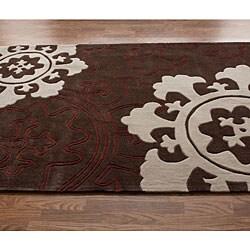 nuLOOM Handmade Pino Suzani Brown Rug (7'6 x 9'6) - Thumbnail 1