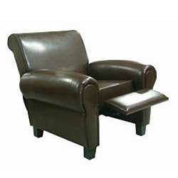 Espresso Leather Accent Recliner Club Chair - Thumbnail 1