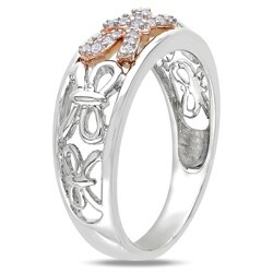 Miadora Sterling Silver and 14k Pink Gold 1/10ct TDW Diamond Bow Ring (G-H, I3)