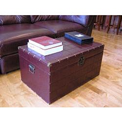 Classic Large Brown Faux Leather Wooden Steamer Trunk - Thumbnail 1