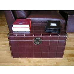 Classic Medium Brown Faux Leather Wooden Steamer Trunk - Thumbnail 1