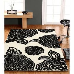 nuLOOM Handmade Moda Floral New Zealand Wool Rug (7'6 x 9'6) - Thumbnail 1