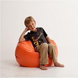 Shop Beansack Orange Vinyl Bean Bag Chair Free Shipping