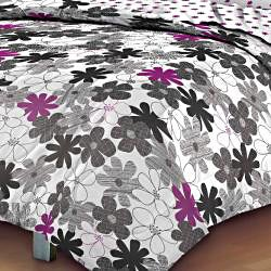 Graphic Daisy 7-piece Queen-size Bed in a Bag with Sheet Set - Thumbnail 1