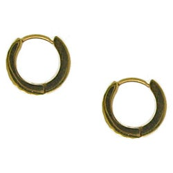 Stainless Steel Goldtone Hoop Earrings - Thumbnail 1