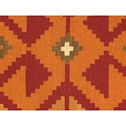 Hand-woven Anatolian Kilim Burgundy Wool Rug (5' x 8') - Thumbnail 1