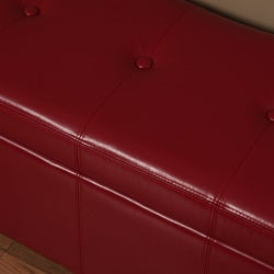 Warehouse of Tiffany Ariel Red Faux-Leather Button-Tufted Storage Bench - Thumbnail 1