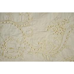 Angelina 84-inch Ivory Embroidered Silk Drapery Panel - Thumbnail 1