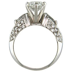 14k White Gold 2 5/8ct TDW Certified Clarity-enhanced Oval-cut Diamond Engagement Ring (E-F,SI1 ) - Thumbnail 1