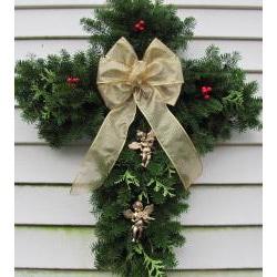 Fresh Balsam 24-inch Cross Wreath - Thumbnail 1
