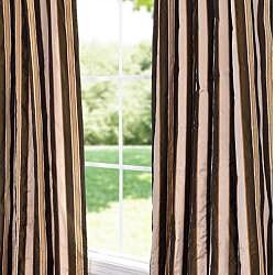 Exclusive Fabrics Café Du Jour Faux Silk Taffeta Striped 96-inch Curtain Panel - Thumbnail 1