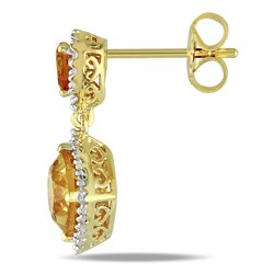 Miadora Yellow-plated Silver Citrine and 1/5ct TDW Diamond Earrings (G-H, I2-I3) - Thumbnail 1
