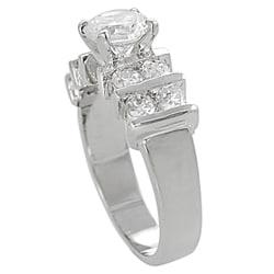 Silvertone Round-cut 2.9 mm Width Cubic Zirconia Ring - Thumbnail 1