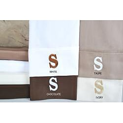 Egyptian Cotton 300 Thread Count Solid Block 'S' Monogram Sheet Set