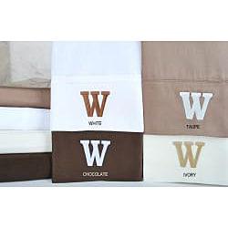 Egyptian Cotton 300 Thread Count Solid Block 'W' Monogram Sheet Set - Thumbnail 1